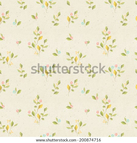 Seamless vintage wallpaper pattern on paper texture. Subtle background. - stock photo