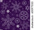 Seamless violet christmas pattern with white-blue snowflakes - stock photo