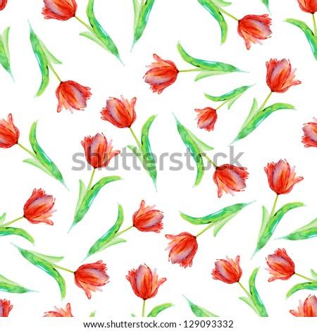Seamless vivid tulip pattern. watercolor. - stock photo
