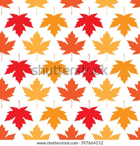 seamless wallpaper. Autumn maple leaves of different colors on a white background - stock photo