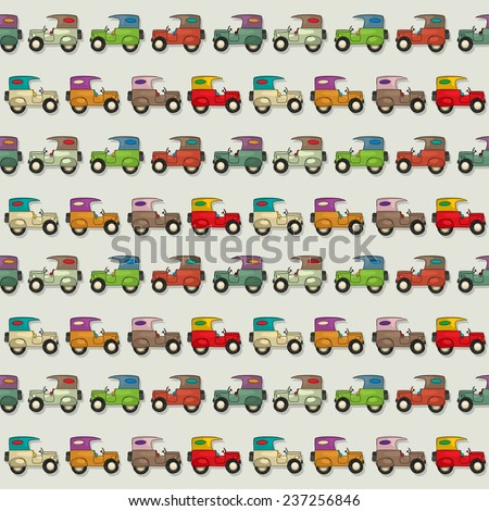Seamless wallpaper pattern with cartoon cars - stock photo