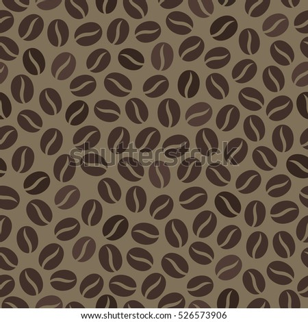 Seamless wallpaper pattern with coffee beans. Raster version