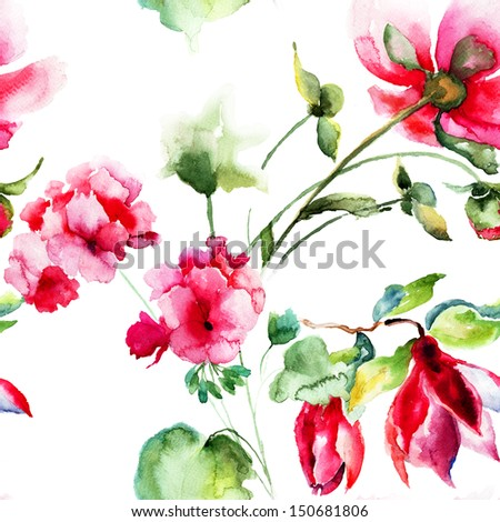 Seamless wallpaper with Geranium and Peony flowers, watercolor illustration  - stock photo