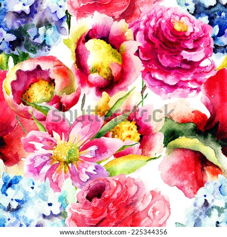 Seamless wallpaper with spring flowers, Watercolor painting  - stock photo
