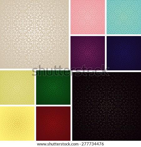 Seamless Wallpapers - Set of ten colors. Raster version. - stock photo