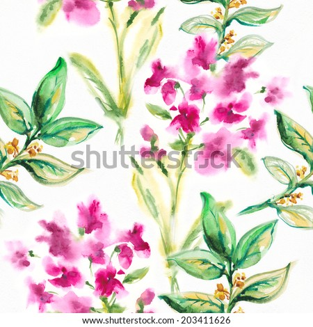 SEAMLESS WATERCOLOR ; Abstract watercolor hand painted backgrounds. - stock photo