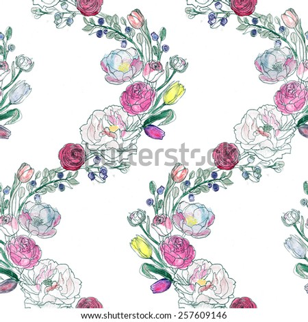 Seamless watercolor background. Floral wallpaper. Elegant aquarelle peony, ranunculus, blueberries, roses on white.  - stock photo