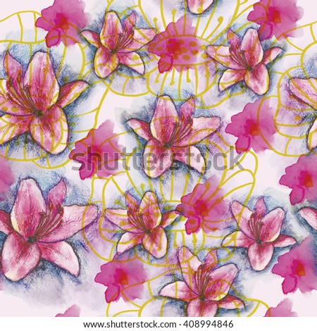Seamless watercolor background with lilies