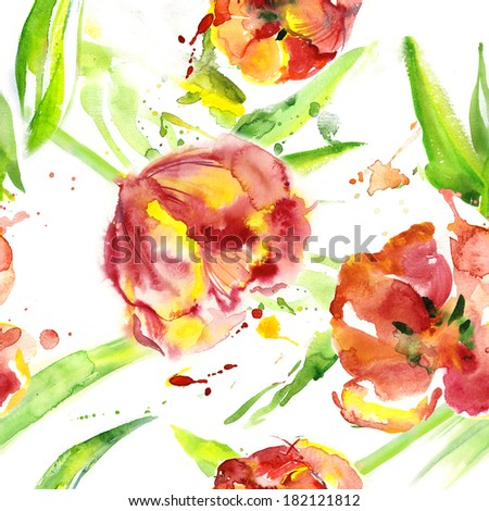 Seamless watercolor background with tulips - stock photo