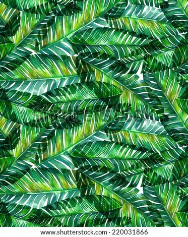 seamless watercolor banana palm leaf pattern. - stock photo