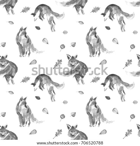 seamless watercolor black and white foxes with autumn leaves watercolor animal painting kids background - Animal Painting For Kids