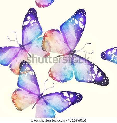 Seamless watercolor butterflies pattern  - stock photo