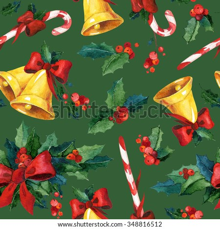 Seamless watercolor Christmas background with holly, golden bells, candy cane and red ribbon. May be used for wrapping paper, card or textile design. - stock photo