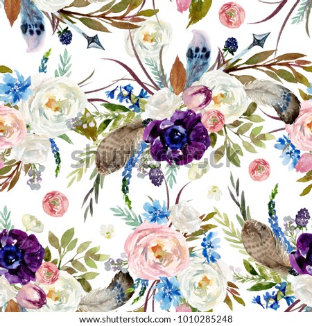 Seamless Watercolor Ethnic Boho Floral Pattern Stock Illustration 1010285248