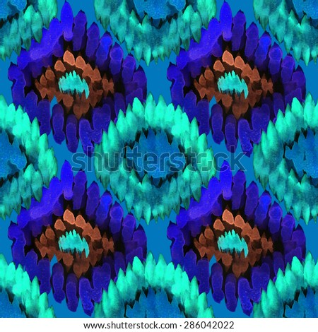 Seamless watercolor ethnic pattern background. Raster version - stock photo