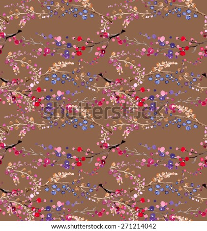 Seamless watercolor floral background, beautiful natural pattern - stock photo