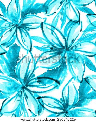 Seamless watercolor floral pattern. Abstract tropical flowers. Summer look for fashion or interior. Large simplified hibiscus flower heads. - stock photo