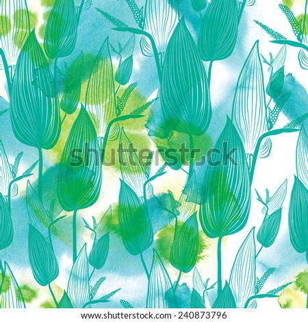 "Seamless watercolor floral pattern with leafs (From my big ""Seamless collection"") - stock photo"