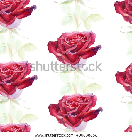 Seamless watercolor flower pattern with roses, watercolor - stock photo