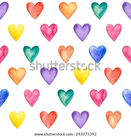 Seamless watercolor hearts pattern - stock photo