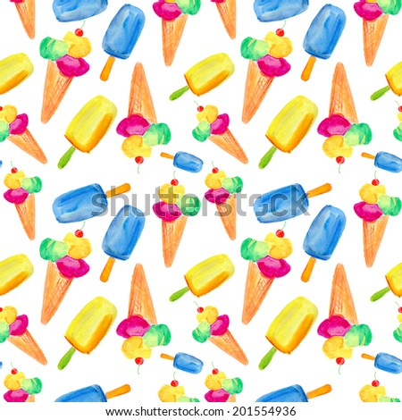 Seamless watercolor ice cream pattern on white background. - stock photo