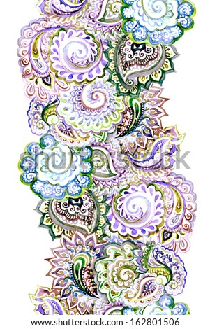 Seamless watercolor painted ribbon with embroidery ornament - stock photo