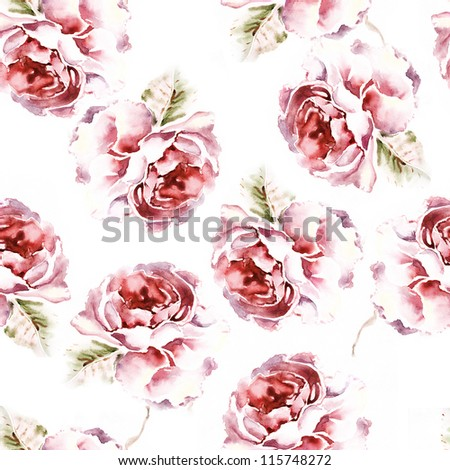 "Seamless watercolor paintings. Abstract watercolor hand painted backgrounds Album.""Roses watercolor""."" seamless water color with the backgrounds"" - stock photo"