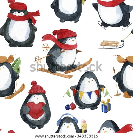 Seamless watercolor pattern.Cute little penguins preparing for Christmas. - stock photo