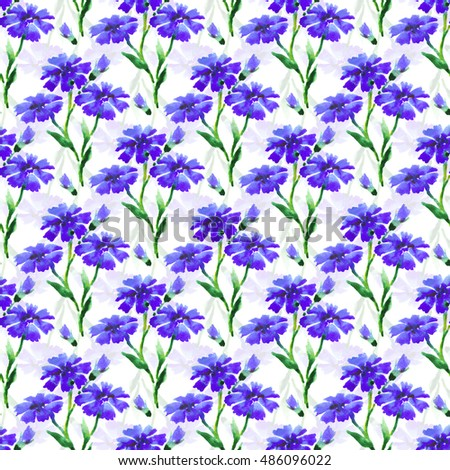 Seamless watercolor pattern of blue cornflower. Beautiful hand drawing summer flowers. Floral endless illustration.