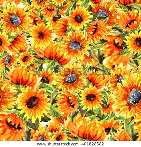 Seamless watercolor pattern sunflowers . Watercolor illustration of flower and beautiful background.