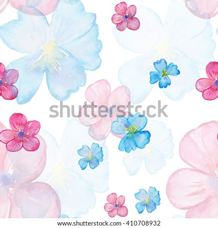 Seamless watercolor pattern with blossom rose. Vintage seamless pattern with rose. Watercolor paint. Feathers pattern for wallpaper design. Watercolor seamless background. - stock photo