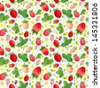 Seamless watercolor pattern with cute strawberries - stock vector