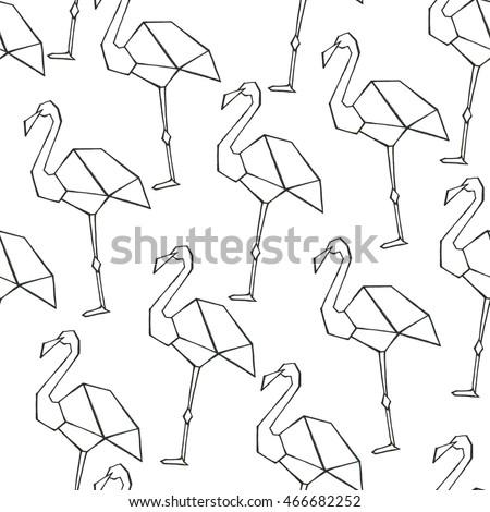 Seamless Watercolor Pattern Origami Flamingo Stock Illustration