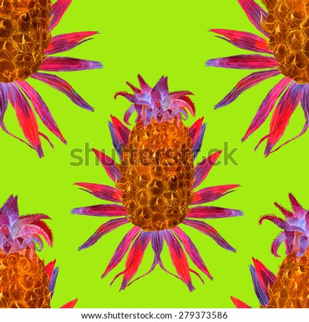 Seamless watercolor pattern with pineapple and palm leaves. Modern pattern with tropical fruits. - stock photo