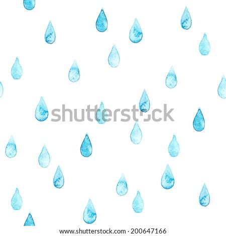 Seamless watercolor rainy pattern - stock photo