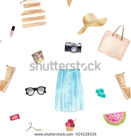 Seamless watercolor summer fashion pattern with objects: sunglasses, photo camera, bag, woman shoes, watermelon, cosmetics, hat, macaroons. White background. - stock photo