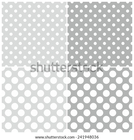 Seamless white and grey pattern or tile background set with big and small polka dots - stock photo