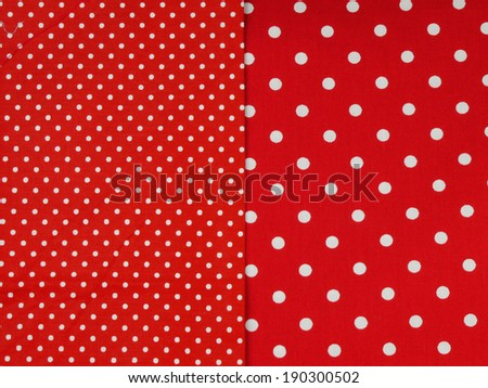 Seamless white and red polka dot background, comparison of small and big dots - stock photo