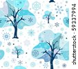 Seamless white-blue winter pattern - stock photo