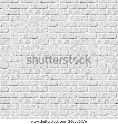 Seamless white brick wall background. - stock photo