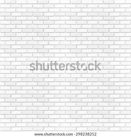 Seamless white brick wall pattern texture background. - stock photo
