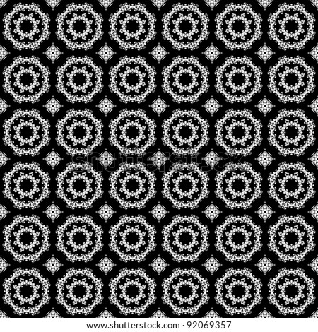 Seamless White Kaleidoscope Lace on Black Background - stock photo