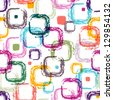 Seamless white pattern with colorful translucent uneven rectangles - stock vector