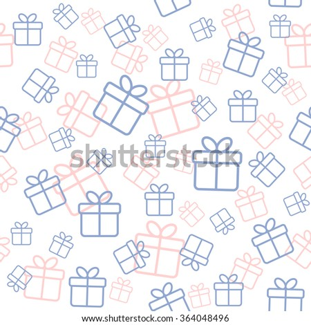 Seamless white pattern with gift boxes in trendy colors serenity and rose quarz. Raster version - stock photo