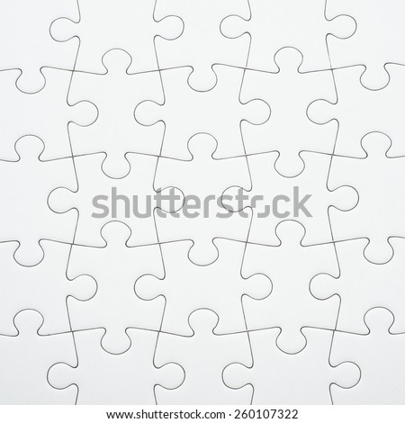 Seamless white puzzle piece background pattern. Conceptual image of connection, solution and business strategy.