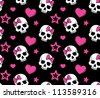 Seamless with hearts and skulls. Raster version. - stock vector