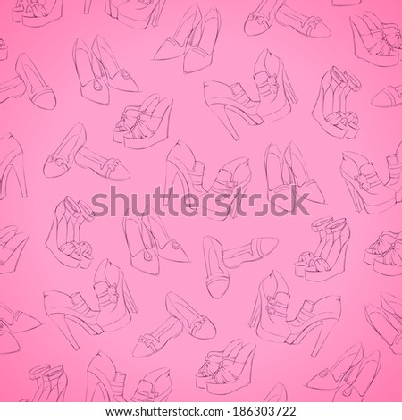 Seamless woman modern shoes sketch pattern background  illustration - stock photo