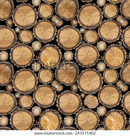 Seamless wood texture of cut tree trunk - stock photo
