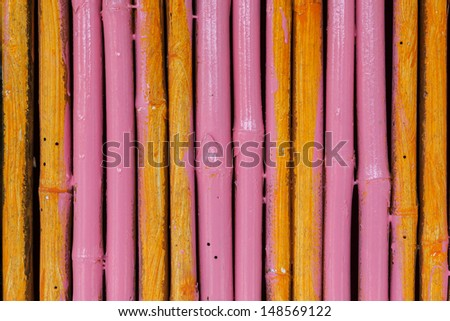 Seamless yellow pink bamboo stick striped pattern background texture surface