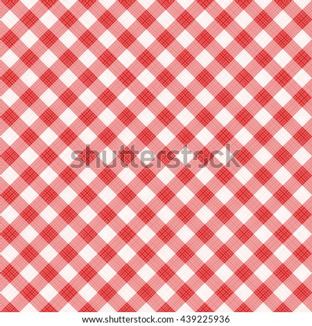 Seamless (you see 4 tiles) red diagonal gingham fabric cloth, pattern, swatch, background, texture or wallpaper.   - stock photo